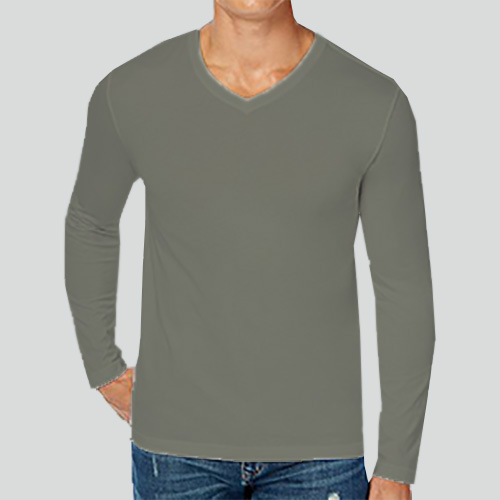 Men V Neck Full Sleeves Dove Grey image