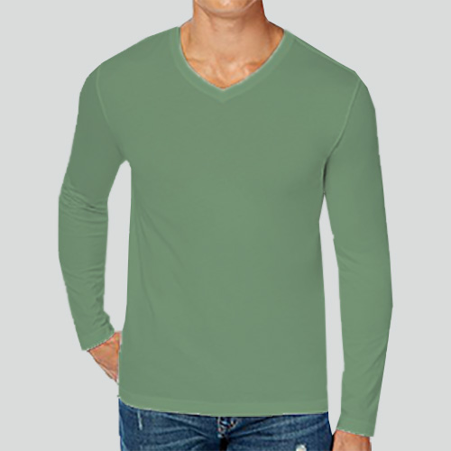 Men V Neck Full Sleeves Green Apple image