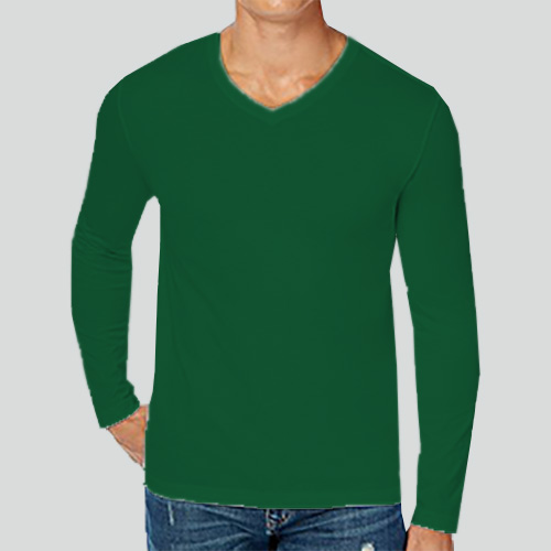 Men V Neck Full Sleeves  Green image