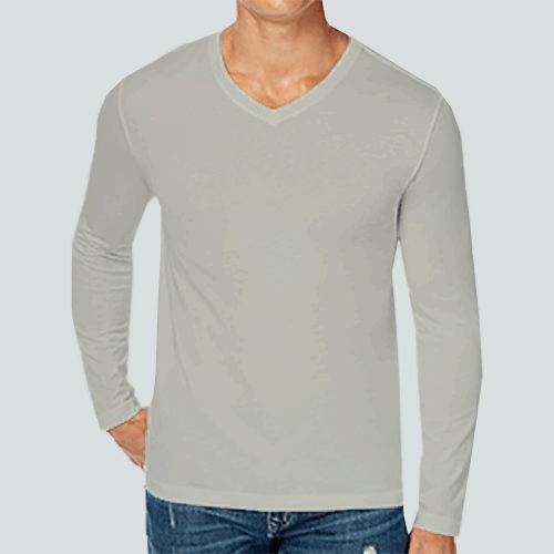 Men V Neck Full Sleeves Light Grey image