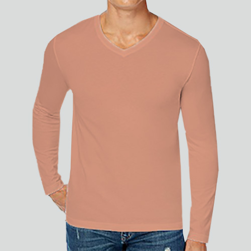Men V Neck Full SleevesLight Saffron image