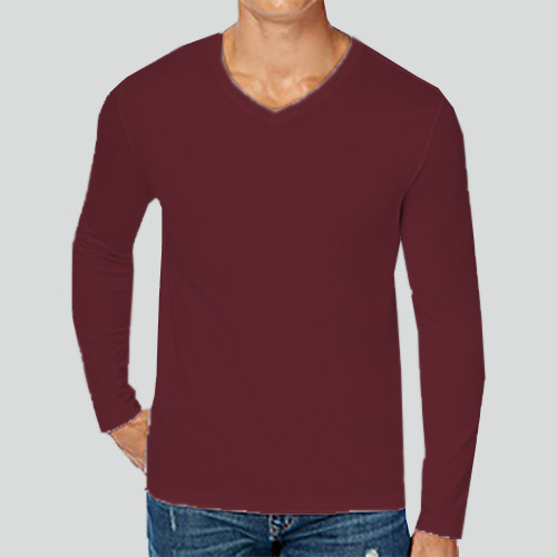 Men V Neck Full Sleeves Maroon image