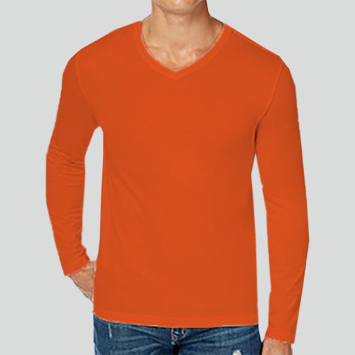 Men V Neck Full Sleeves Orange image