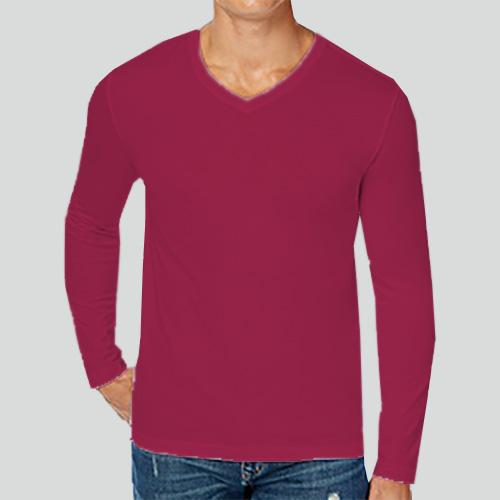 Men V Neck Full Sleeves Pink image