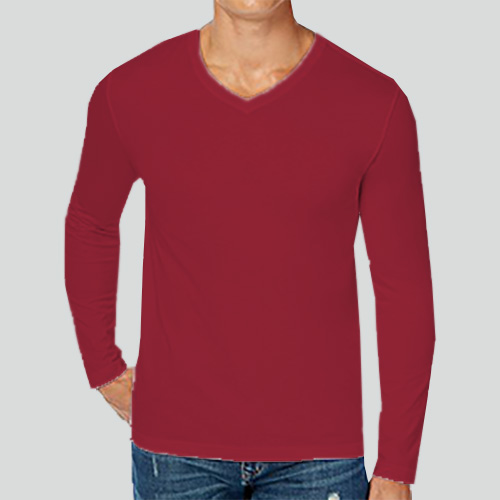 Men V Neck Full Sleeves Radical Red image