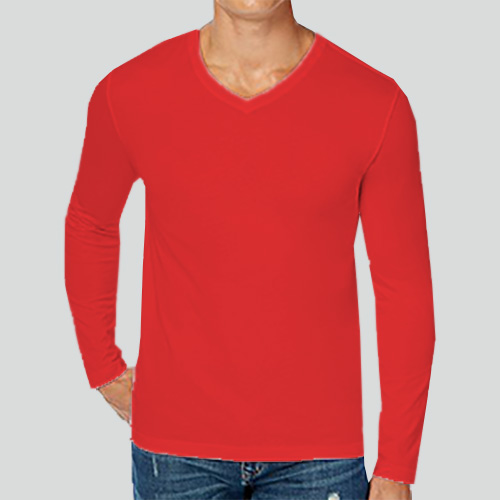 Men V Neck Full Sleeves Red image