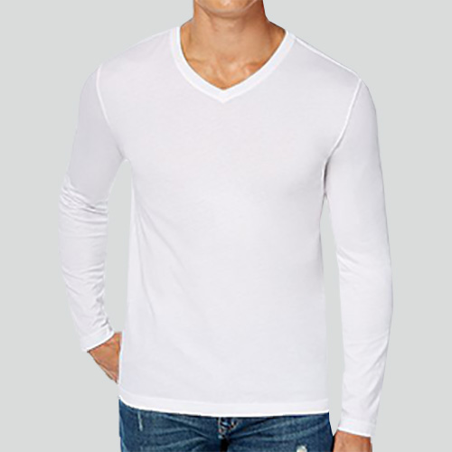 Men V Neck Full Sleeves White image
