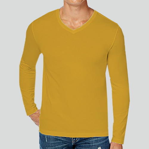 Men V Neck Full Sleeves Yellow image