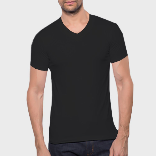 Men V Neck Half Sleeves Black image