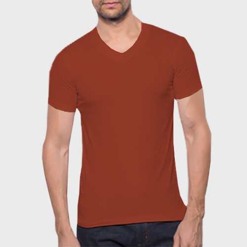 Men V Neck Half Sleeves Brown image