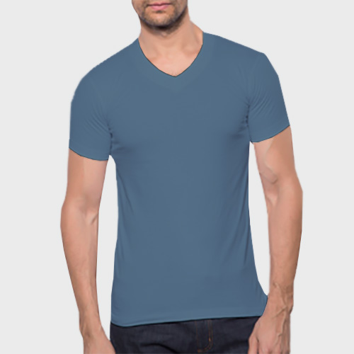 Men V Neck Half Sleeves Chathams Blue image