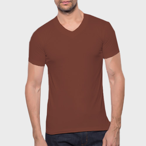 Men V Neck Half Sleeves Dark Brown image