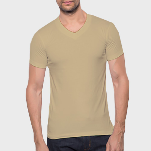 Men V Neck Half Sleeves Dark Cream image