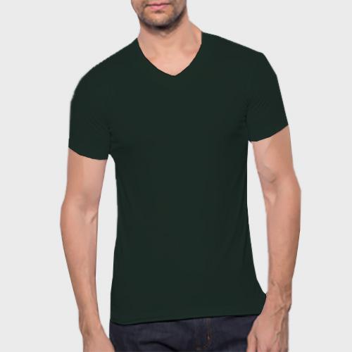 Men V Neck Half Sleeves Dark Green image