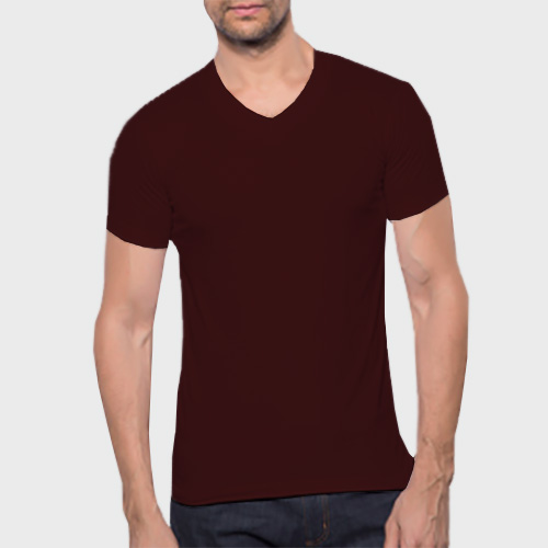 Men V Neck Half SleevesDark Maroon Color image
