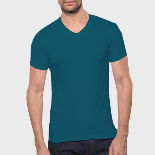 Men V Neck Half Sleeves Dark Sky Blue image