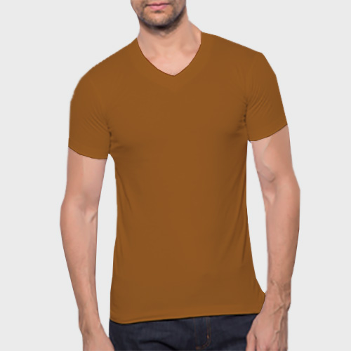 Men V Neck Half Sleeves Dark Yellow image