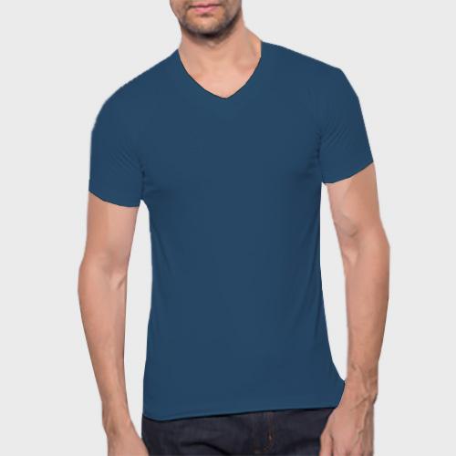 Men V Neck Half Sleeves Deep Sky Blue image