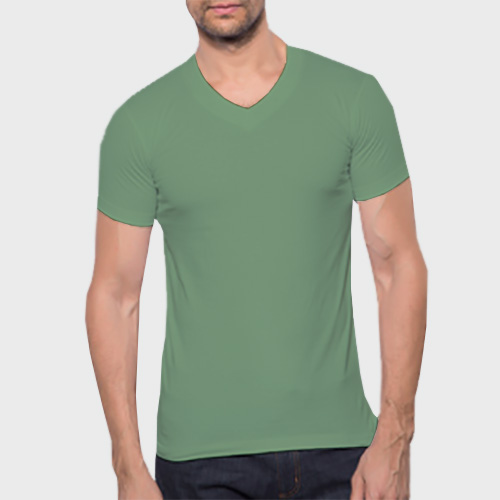 Men V Neck Half Sleeves Green Apple image