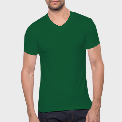Men V Neck Half Sleeves  Green image