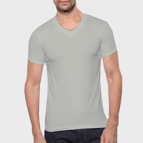 Men V Neck Half Sleeves Light Grey image
