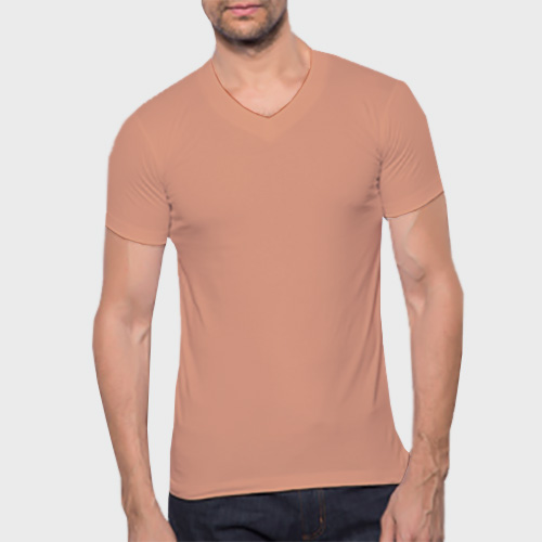 Men V Neck Half SleevesLight Saffron image