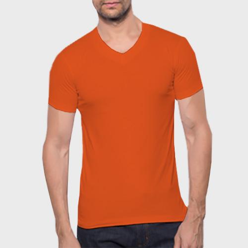Men V Neck Half Sleeves Orange image