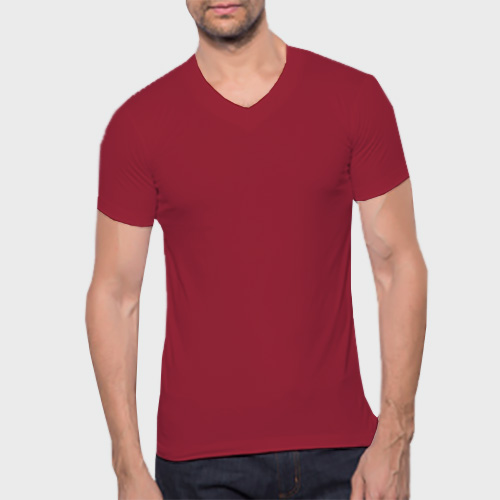 Men V Neck Half Sleeves Radical Red image
