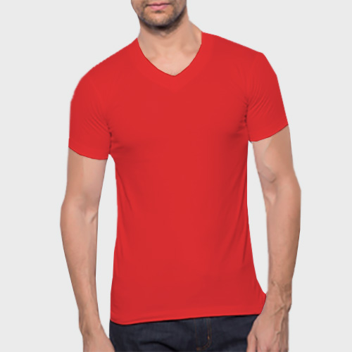 Men V Neck Half Sleeves Red image