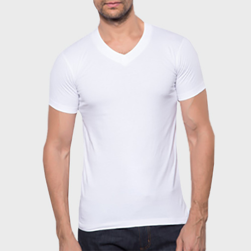Men V Neck Half Sleeves White image