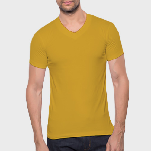 Men V Neck Half Sleeves Yellow image