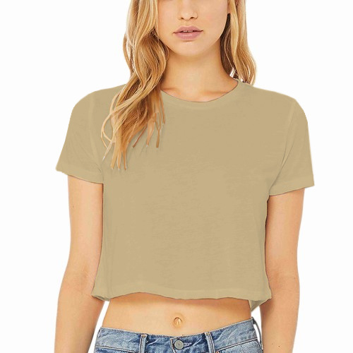 Women Cropped Half Sleeves Dark Cream image
