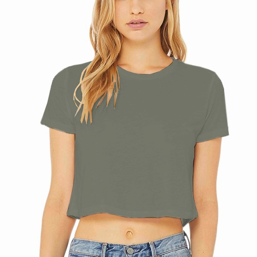 Women Cropped Half Sleeves Dove Grey image