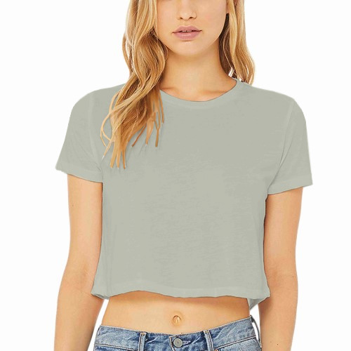 Women Cropped Half Sleeves Light Grey image
