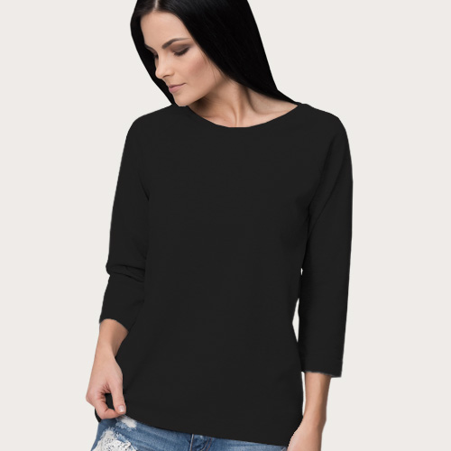 Women Round Neck Full Sleeves Black image