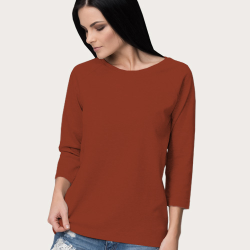 Women Round Neck Full Sleeves Brown image