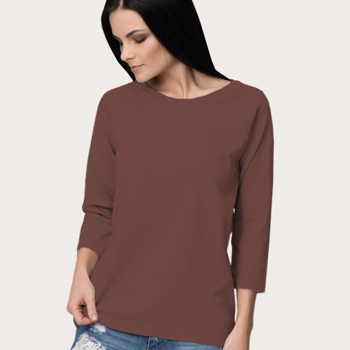 Women Round Neck Full Sleeves Coffee image