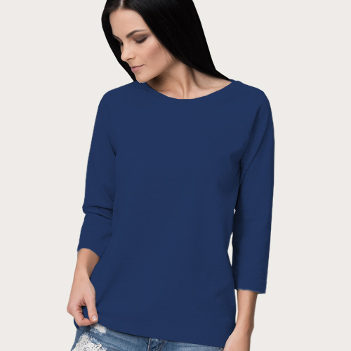 Women Round Neck Full Sleeves Dark Blue image