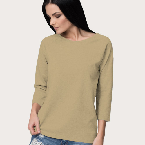 Women Round Neck Full Sleeves Dark Cream image