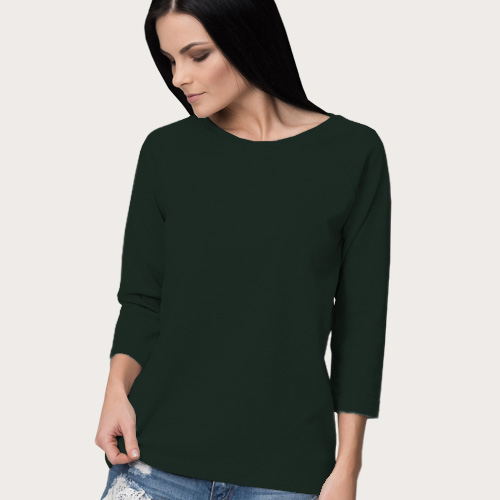 Women Round Neck Full Sleeves Dark Green image