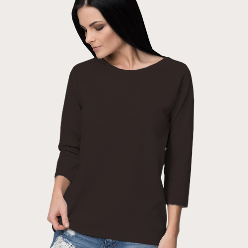 Women Round Neck Full Sleeves Dark Grey image