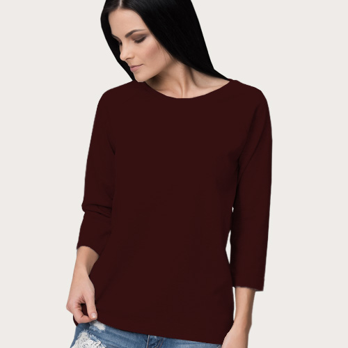Women Round Neck Full SleevesDark Maroon Color image