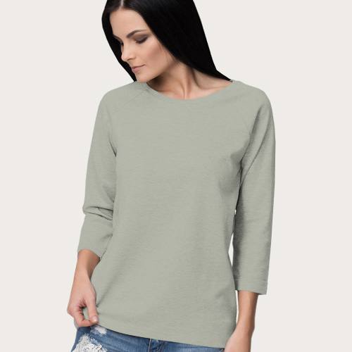 Women Round Neck Full Sleeves Light Grey image