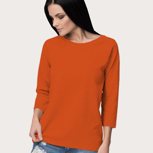Women Round Neck Full Sleeves Orange image