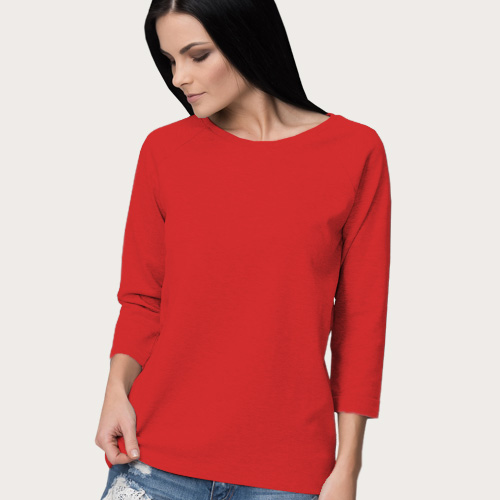 Women Round Neck Full Sleeves Red image