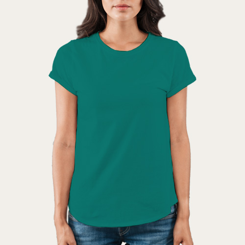Women Round Neck Half Sleeves Aquamarine image