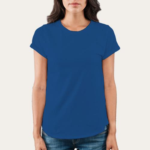 Women Round Neck Half Sleeves Blue image