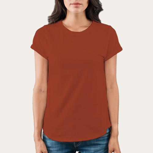 Women Round Neck Half Sleeves Brown image