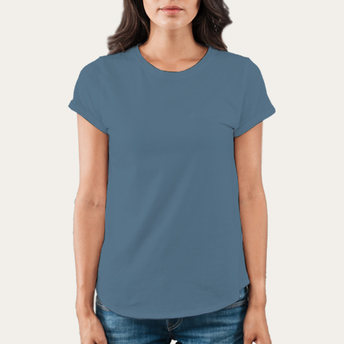 Women Round Neck Half Sleeves Chathams Blue image