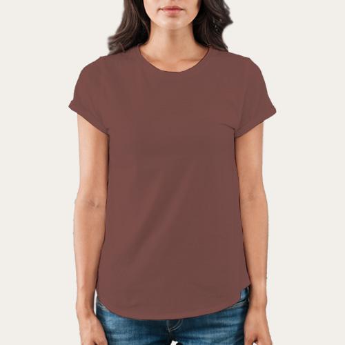 Women Round Neck Half Sleeves Coffee image